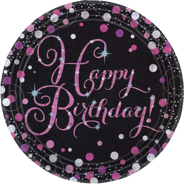 8 Teller Happy Birthday Sparkling Celebrations Papier rund pink prismatisch 22,8 cm
