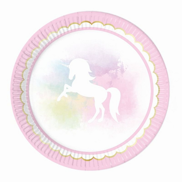 Believe In Unicorns 8 Paper Plates Large 23cm