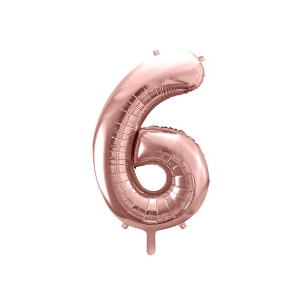 Foil Balloon Number 6, 86cm, rose gold