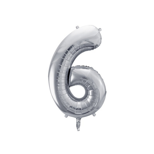 Foil Balloon Number 6, 86cm, silver