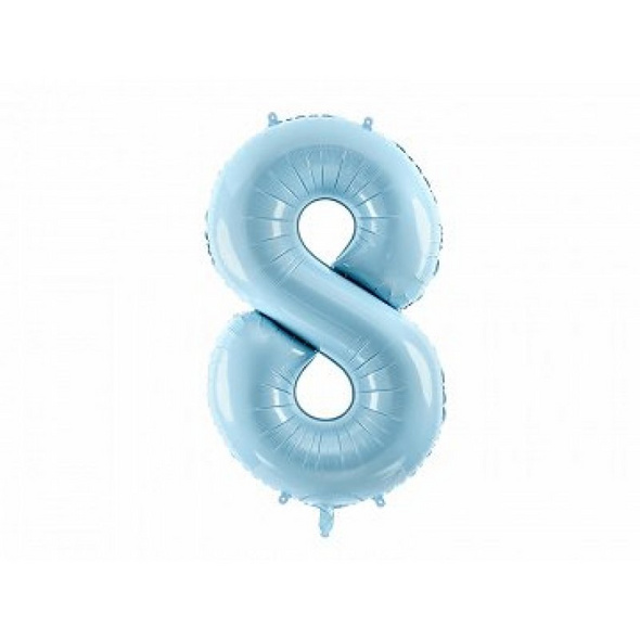 Foil Balloon Number 8, 86cm, light blue