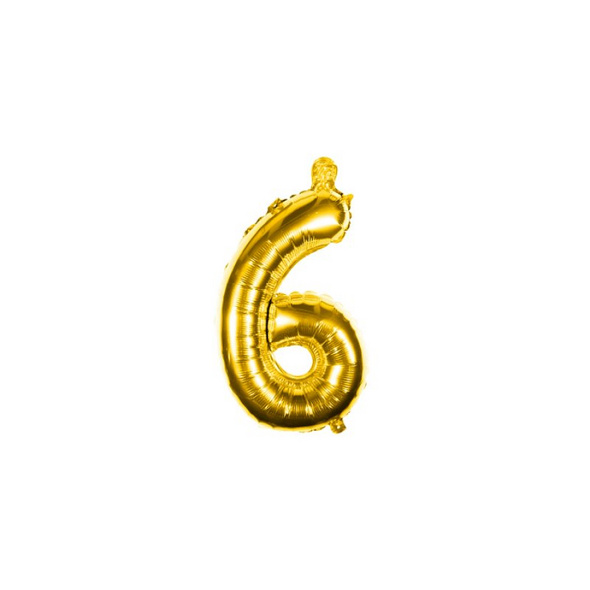 Folienballon Zahl 6 Ziffer Sechs gold 35cm