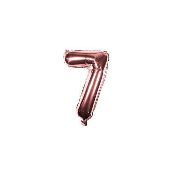 Folienballon Zahl 7 Ziffer Sieben rosé-gold 35cm