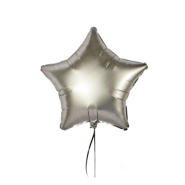 Luxuriöser Folienballon in Sternform Farbe Platin satin in der Größe 43 cm