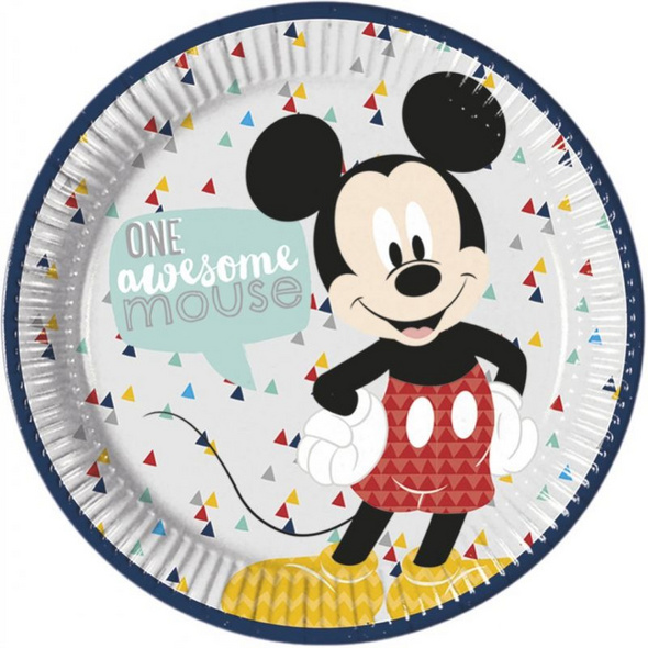 Mickey Awesome Mouse Premium 23cm Round paper plates