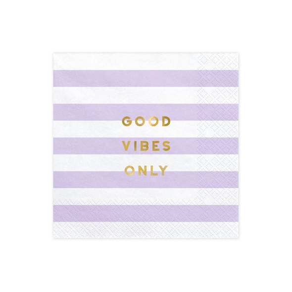 Napkins Yummy - Good vibes only, light lilac, 33x33cm (1 pkt / 2