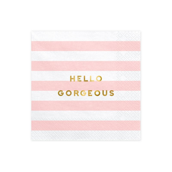 Napkins Yummy - Hello Gorgeous, light pink, 33x33cm (1 pkt / 20