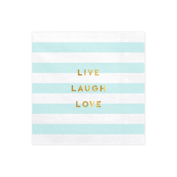 Napkins Yummy - Live Laugh Love, light blue, 33x33cm (1 pkt / 20
