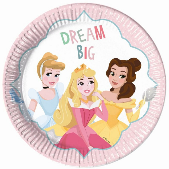 Princess Dare To Dream 8 Paper Plates Large 23cm