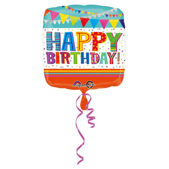 Standard Bright & Bold Happy Birthday Folienballon S40 verpackt 43 cm