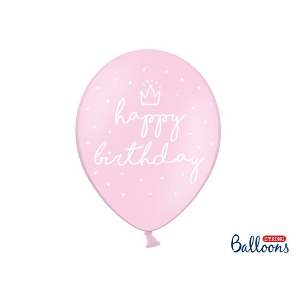 Strong Balloons 30cm, happy., P. B. Pink (1 pkt / 6 pc.)