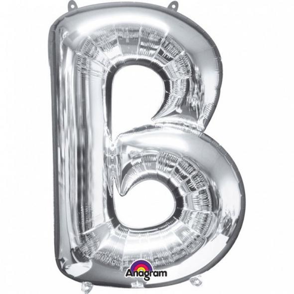SuperShape Buchstabe B Silber Folienballon L34 verpackt 58cm x 86cm
