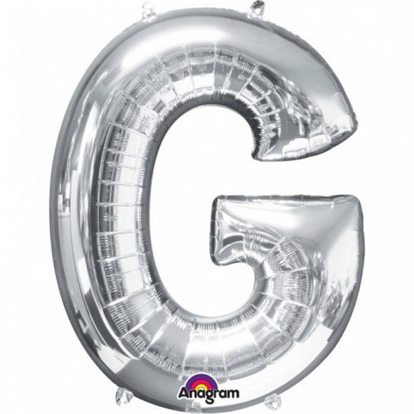 SuperShape Buchstabe G Silber Folienballon L34 verpackt 63cm x 81cm
