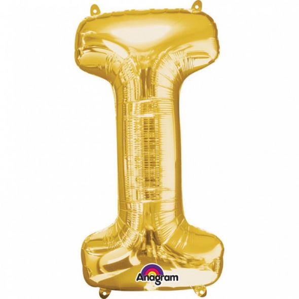 SuperShape Buchstabe I Gold Folienballon L34 verpackt 45cm x 81cm
