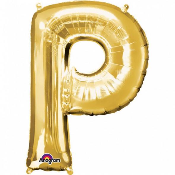 SuperShape Buchstabe P Gold Folienballon L34 verpackt 60cm x 81cm