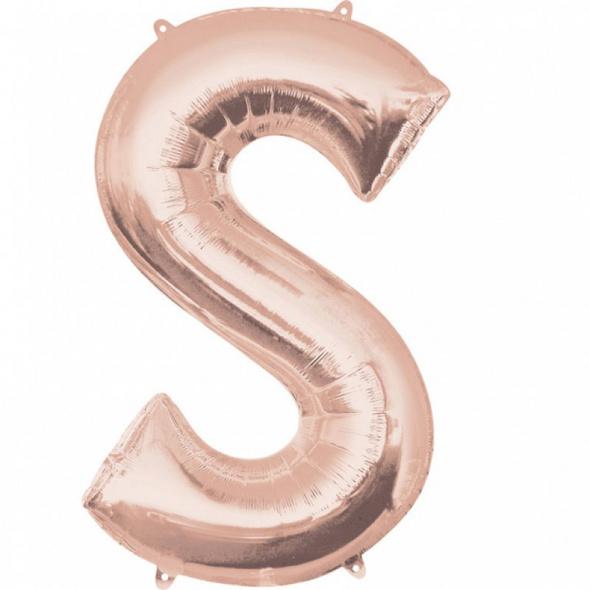 SuperShape Buchstabe S Rosé-Gold Folienballon L34 verpackt 53cm x 88cm
