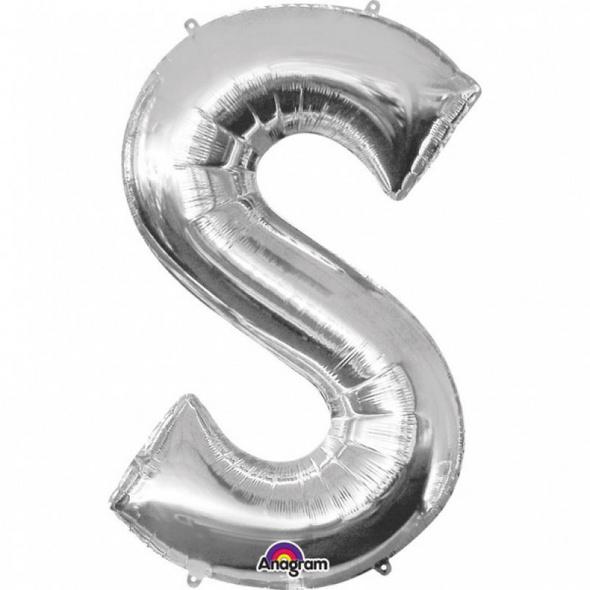 SuperShape Buchstabe S Silber Folienballon L34 verpackt 53cm x 88cm