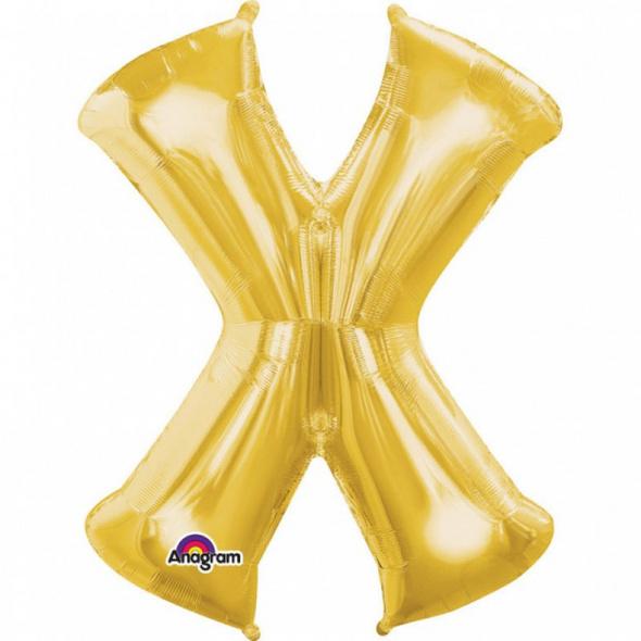 SuperShape Buchstabe X Gold Folienballon L34 verpackt 68cm x 88cm