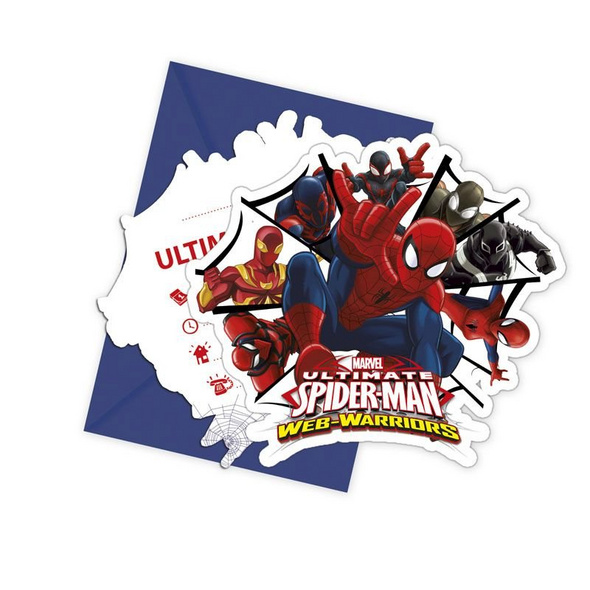 Ultimate Spiderman Web Warriors 6 Die-cut Invitations Envelopes