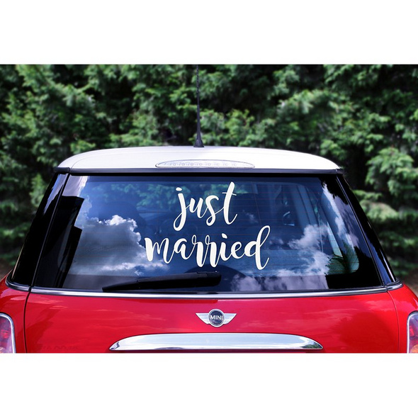Wedding day car sticker - Just married, 33x45cm
