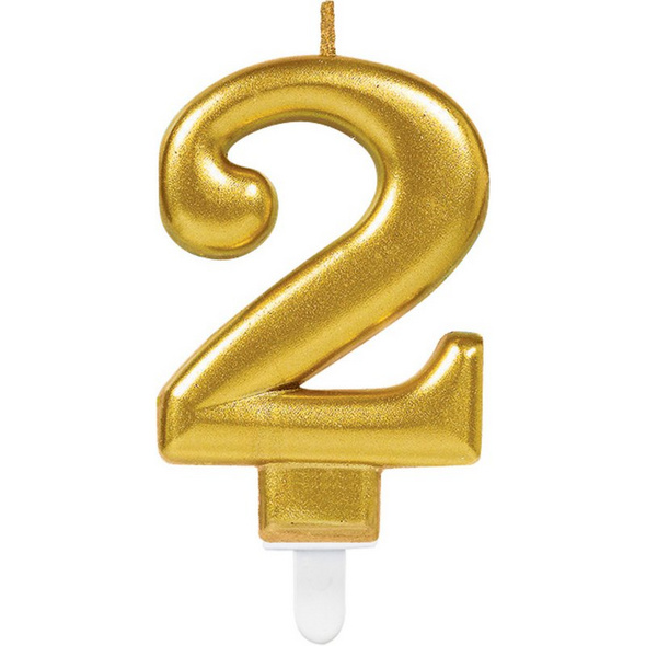 Zahlenkerze 2 Sparkling Celebrations Gold Hoehe 9,3 cm