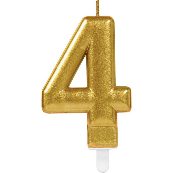 Zahlenkerze 4 Sparkling Celebrations Gold Hoehe 9,3 cm