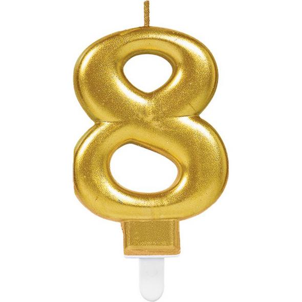 Zahlenkerze 8 Sparkling Celebrations Gold Hoehe 9,3 cm