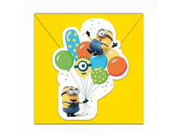 MINIONS BALLOONS PARTY 6 Die-Cut Invitations Envelopes